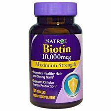 Natrol, Biotin, Maximum Strength, 10,000 mcg, 100 Tablets