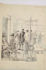 Dessin Original fin XIX° INDIAMAN BAR Chantilly, Monde des Courses Turf Parieurs