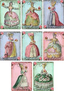 Vintage Marie Antoinette let them eat cake stationery set 8  with organza bag