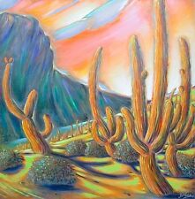 Gustavo Novoa Cactus Parade signed Original Acrylic Art Painting on Canvas OFFER