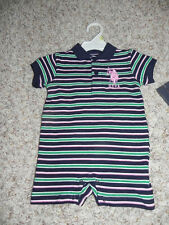 U.S. Polo Assn Layette 6/9 Months Navy Stripes NWT $21