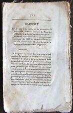 RAPPORT SUR LA CULTURE DU MURIER ET VERS A SOIE, ENVIRONS DE PARIS, 1836
