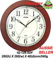 AUSSIE SELER CASIO WALL CLOCK IQ-126-5DF SILENT NO TICKING SOUND 12-MONTH WARNTY