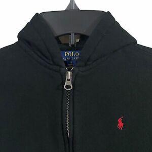 Boys Kids Polo Ralph Lauren Black Full Zip Up Hoodie Sweater Size 6