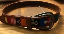 Fossil Leather Fabric Belt Multi Color Medium M Buckle Hippie Boho