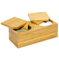 Bamboo Spice Salt & Pepper Box Magnetic Hinged Lid Pot Includes Spoons M&W