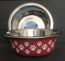 New (2) Dog Cat Bowls Red & White Paw Print Stainless Steel Pet Feeding