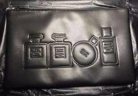 2136fbedd8a6 RARE NIP Chanel Makeup Cosmetic Bag Travel Case Black PU Hard Case ...