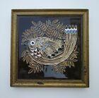 VTG 1960s Framed Wren Tile, Maw & Co Tubeline & Majolica Hand Decorated, England