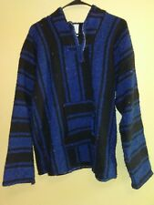 Mens US XL Pullover Carpet Baja Jacket Hoodie Hippie Mexicali Blue Black Stripes