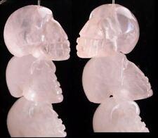 1 ROSE Quartz Crystal Skull Bead - Vertical Drill! - Stone of LOVE!
