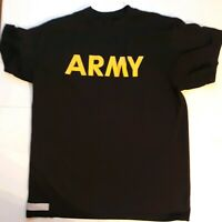 US Army PT Fitness APFU Short Sleeve T-Shirt Black/Gold, Size - Large