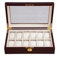 12 Watch Display Case Cherry Wood Glass Top Jewelry Box Collector Mens GiFt
