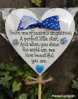 Memorial heart-Baby funeral verse-Child Grave Ornament- Personalised Plaque-blue