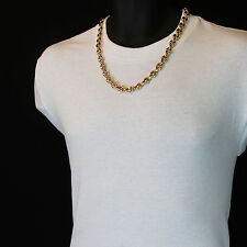 """Men's 14k Gold Plated 10mm 24"""" Round Byzantine Chain Heavy Hip Hop Style Link"""
