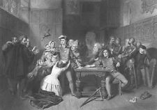 MAN To GET HAND CHOPPED Off by King JAMES Pardoned, Old 1868 Art Print Engraving