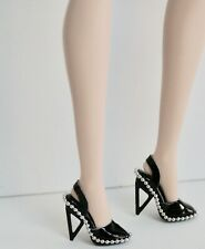 "Fashion Royalty / Awesome Black ""Leather"" Pumps With Triangle Heel / Mint"