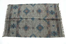4' x 6' Rustic Blue Green Tapestry Style Wool Jute Woven Area Rug