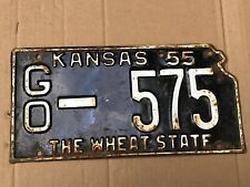 1955 Kansas License Plate 575 Gove County Original The Wheat State Plates 55