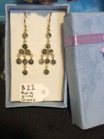 Rutilated Silver Quartz Earrings Vermeil Yellow Gold Over Sterling Silver