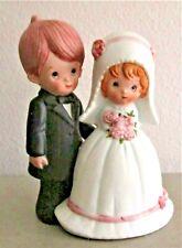Vintage Cake Topper Bride And Groom Blonde Hair Bride Brown Hair Groom Figurine