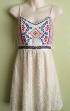 Flying Tomato Boho Hippie Embroidered Trippy Chick Dress Size Small