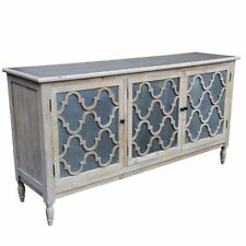 Solid timber 3 door buffet sideboard large buffet chest natural grey wash stain