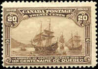 1908 Mint H Canada F Scott #103 20c Quebec Tercentenary Issue Stamp