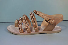 a5e7922561f6 CHANEL Gold 37 Metallic Fantasy Leather Gold Woven Chain Sandals Flats Thong