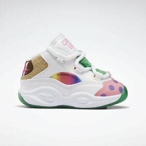 Reebok infants Iverson Question Mid X CandyLand Basketball H05605 White/Green