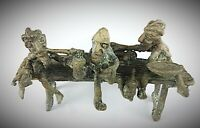 Rare - statuette ancienne en bronze Burkina Fasso «Scène de beuverie»