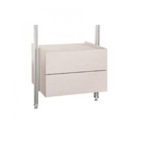 iSpace Space Pro Relax Double Drawer Unit, Light Grey W 55cm x D50cm x H 38cm