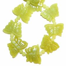 NG2532 Green New Jade 21mm Carved Butterfly & Spacer Serpentine Gemstone Beads