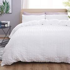 TanNicoor Seersucker Duvet Cover Set White,Luxury Washed Cotton Comforter Quilt