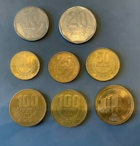 COSTA RICA Coin lot 1985-2000. KM#215-236. VF to UNC. 8 Coins with 500 Col. 2000