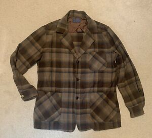 Vintage Pendleton Men's Brown Plaid Wool Button Up Flannel Jacket Sz M