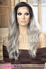 Thick Full Flowing Lace Front Heat Friendly Wig Grey Gray with Black Roots