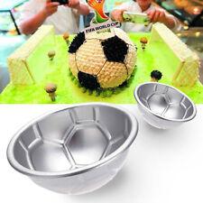 2Pcs Non-toxic Aluminum 3D Football Soccer DIY Cake Chocolate Baking Mold Pan