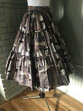 1950s Full Tiered Circle Skirt Cotton Egyptian Novelty Print Vintage Tiki Style