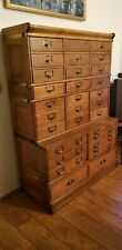 ANTIQUE 32-Drawer GLOBE-WERNICKE MISSION OAK FILE MAP BARRISTER STACKING CABINET