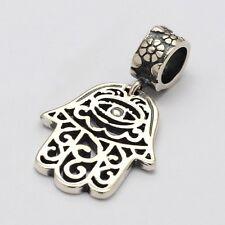 - Hamsa Fatima mano-occhio-Palm-Solido 925 argento Sterling Charm Bead Europeo/Ciondolo