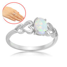 925 Silver Fashion Jewelry Opal CZ Women Wedding Engagement Party Ring Size 6-10