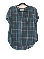 Cloth & Stone Size Medium Blue Green Plaid Short Sleeve Tunic Top