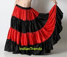 Red & Black Satin 6 Yard 4 Tiered Gypsy Skirt Belly Dance Ruffle Jupe Flamenco