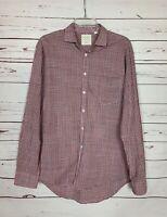 Billy Reid Men's L Large Blue Red Plaid Button Cotton Spring Long Sleeve Shirt