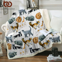 Soft Fuzzy Cozy Warm White Cat Blanket Soft Fleece Sherpa Throw Blanket Gifts