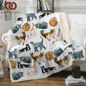 Soft Fuzzy Cozy Warm White Cat Blanket Soft Fleece Sherpa Throw Blanket Gifts