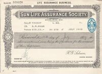 SUN LIFE ASSURANCE SOCIETY 1929 Embossed Two Pence Stamp Renewal Receipt Rf45930