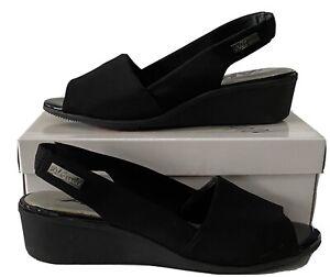 AK Anne Klein Sport Jaye Wedge Peep Toe Sandals Fabric Upper Slingback Box 10M