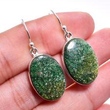 925 Sterling Silver bargain Sale Green Aventurine Gems Dangle Earrings
